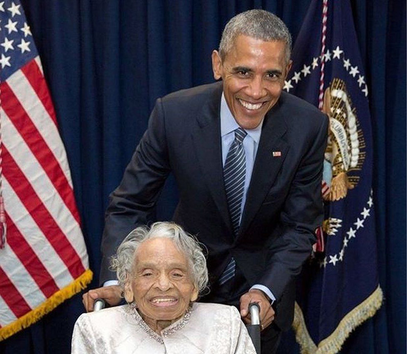 Dr. Olivia Hooker with President Obama