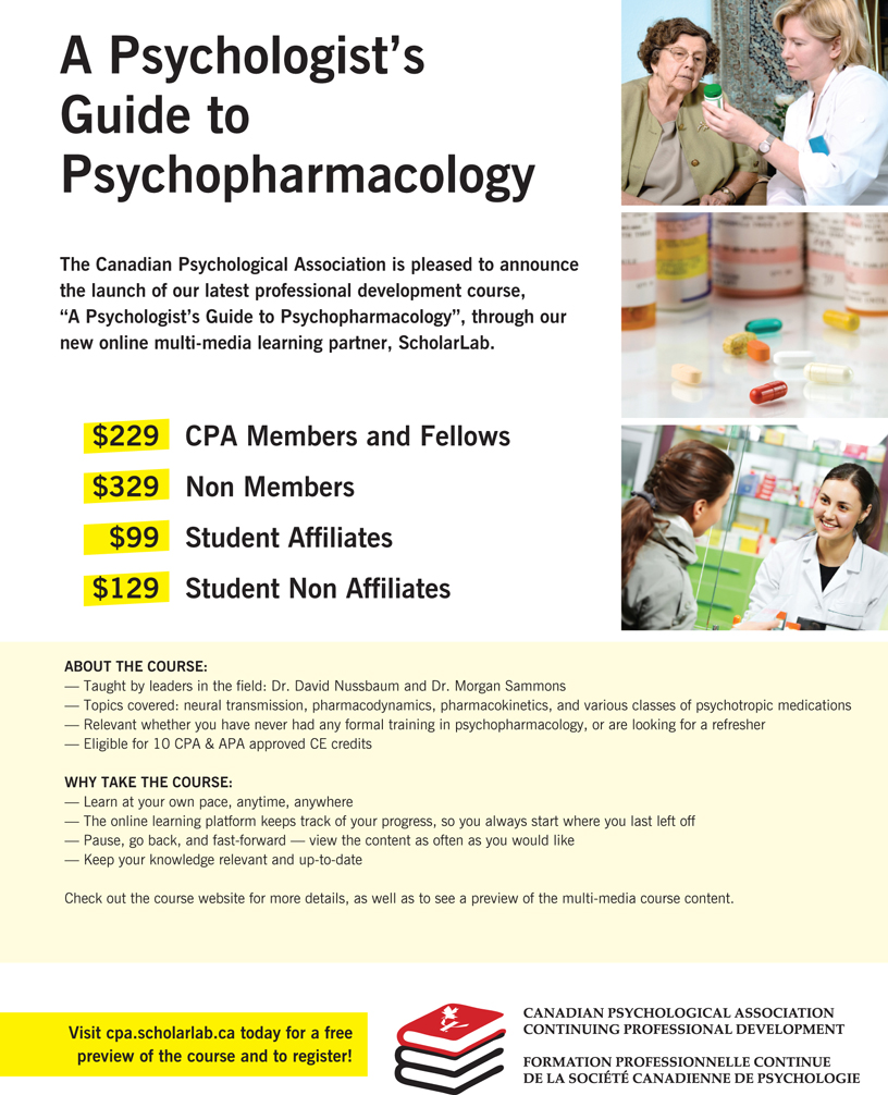 A psychologist's Guide to Psychopharmacology