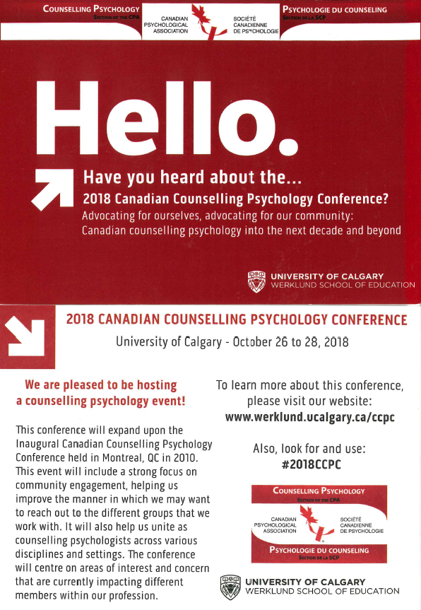 2018 Candian Counselling Psychology Conference