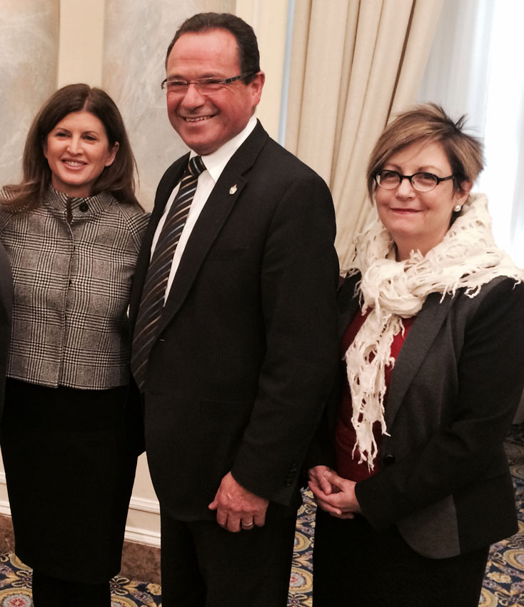 January 30, 2014: CPA's CEO, Dr. Karen Cohen, photographed with Minister of Health, Rona Ambrose, and MP for Kitchener-Conestoga, Harold Albrecht at Economics Club Luncheon in Ottawa, ON.